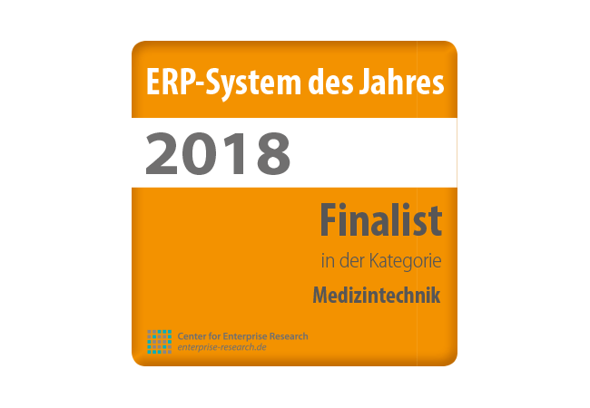 Siegel ERP des Jahres 2018 - Kategorie Medizintechnik - Center of Enterprise Research